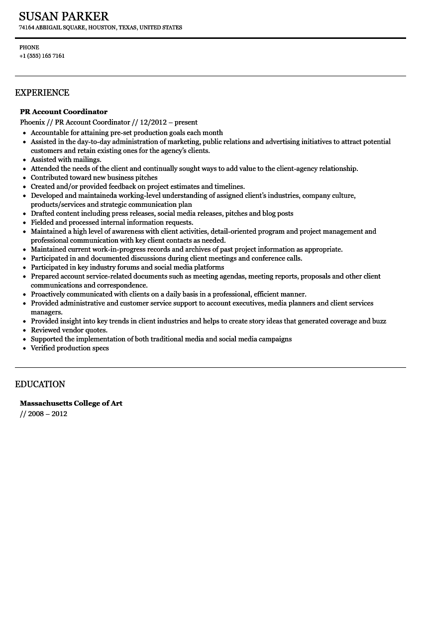 Public Relations Account Coordinator Resume Sample Velvet Jobs