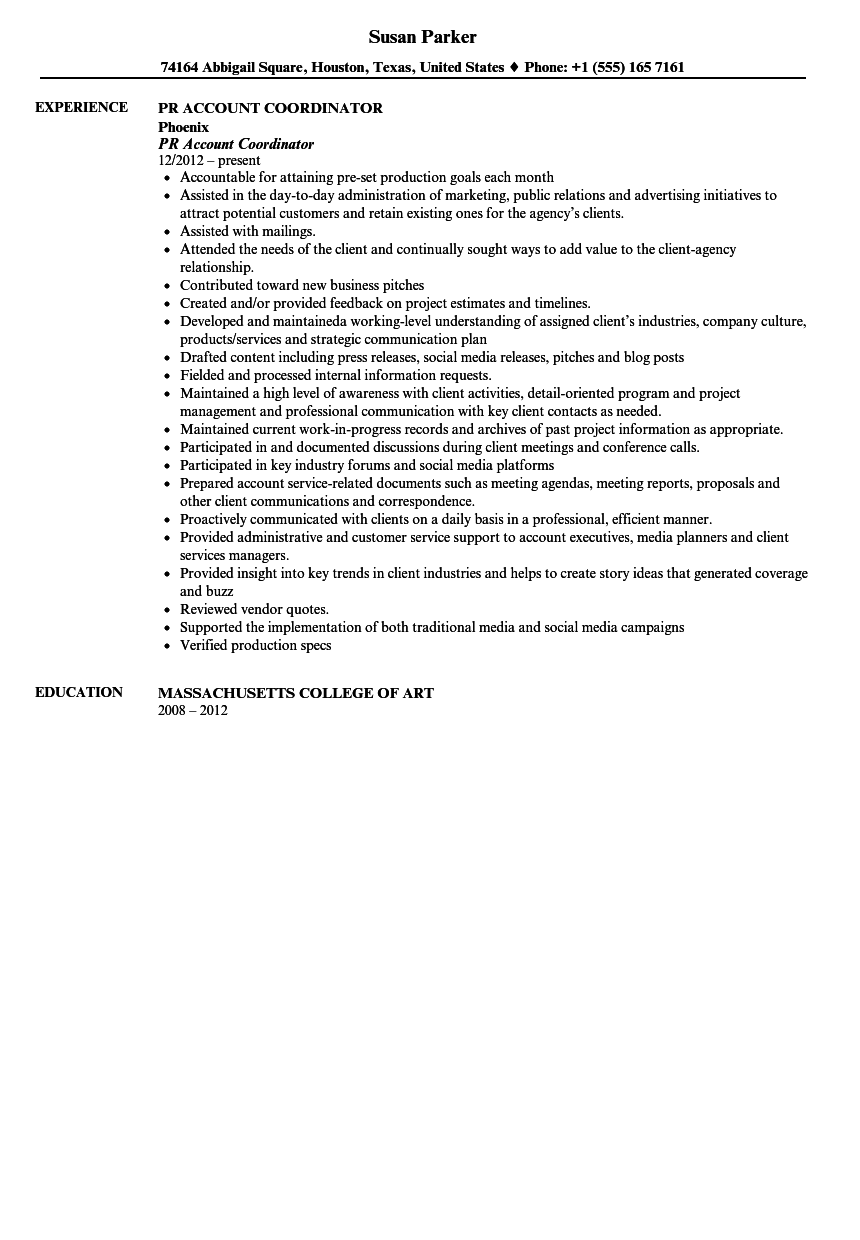 public relations account coordinator resume sample - Sample Public Relations Manager Resume