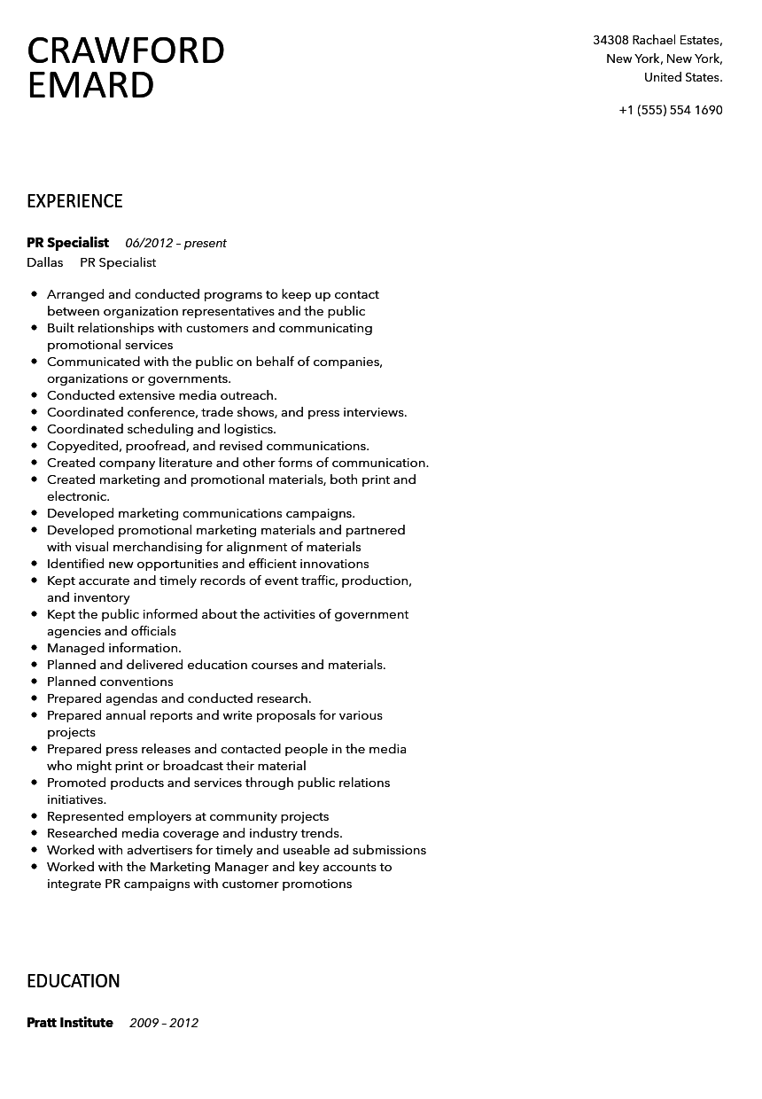Public Relations Specialist Resume Sample | Velvet Jobs