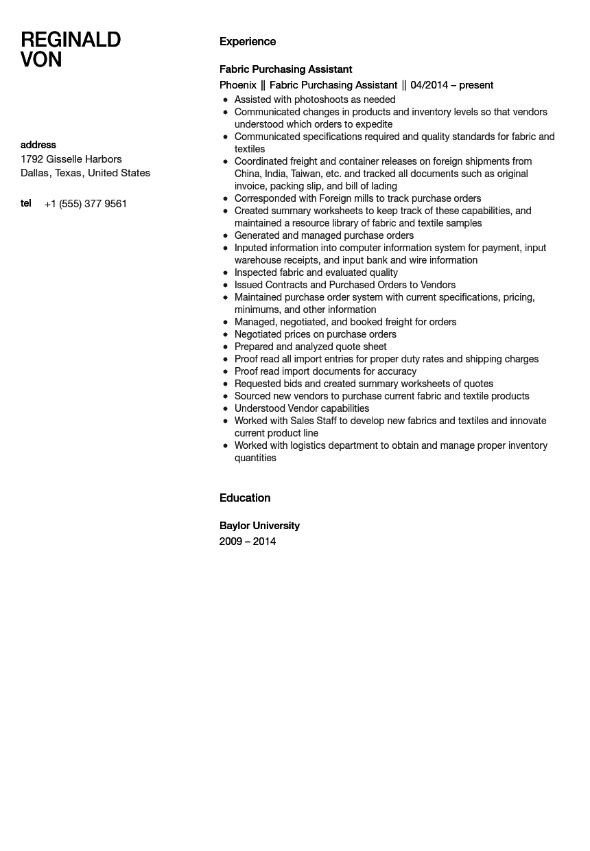 fabric assistant resume sample