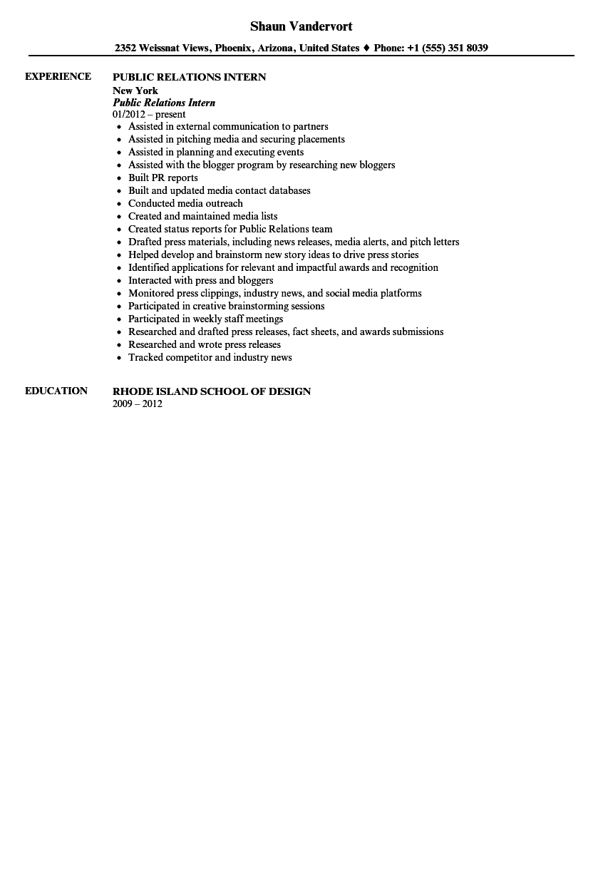 public relations intern resume sample - Pr Resume Sample