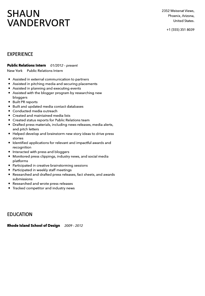 Public Relations Intern Resume Sample