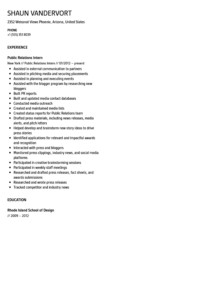 Public Relations Intern Resume Sample  Public Relations Intern Resume