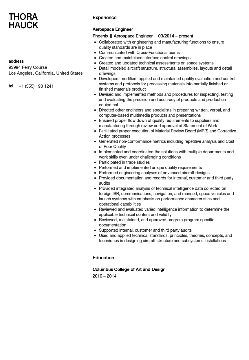 Aerospace Engineer Resume Sample  Aerospace Engineer Resume