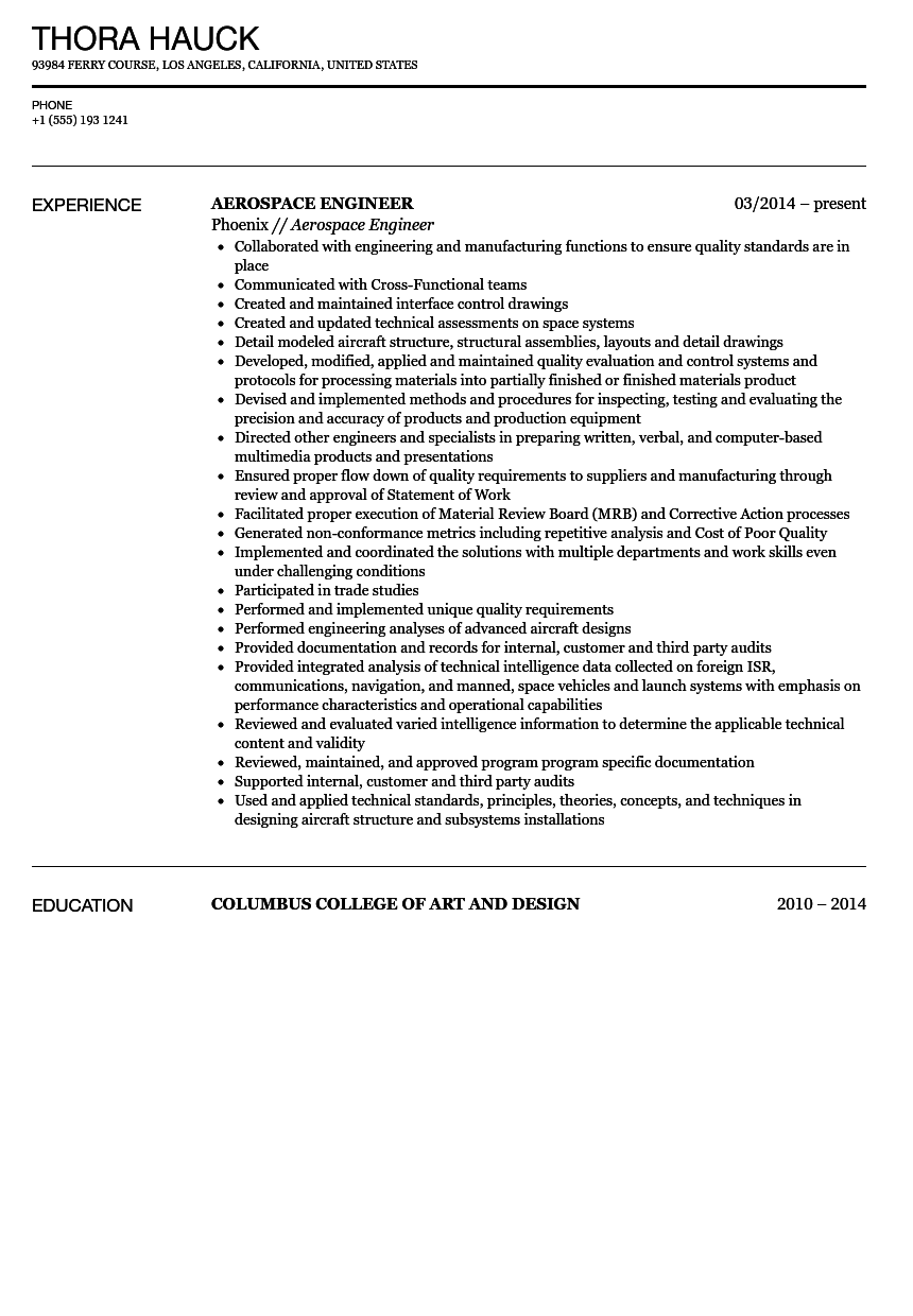 aerospace engineer resume sle velvet