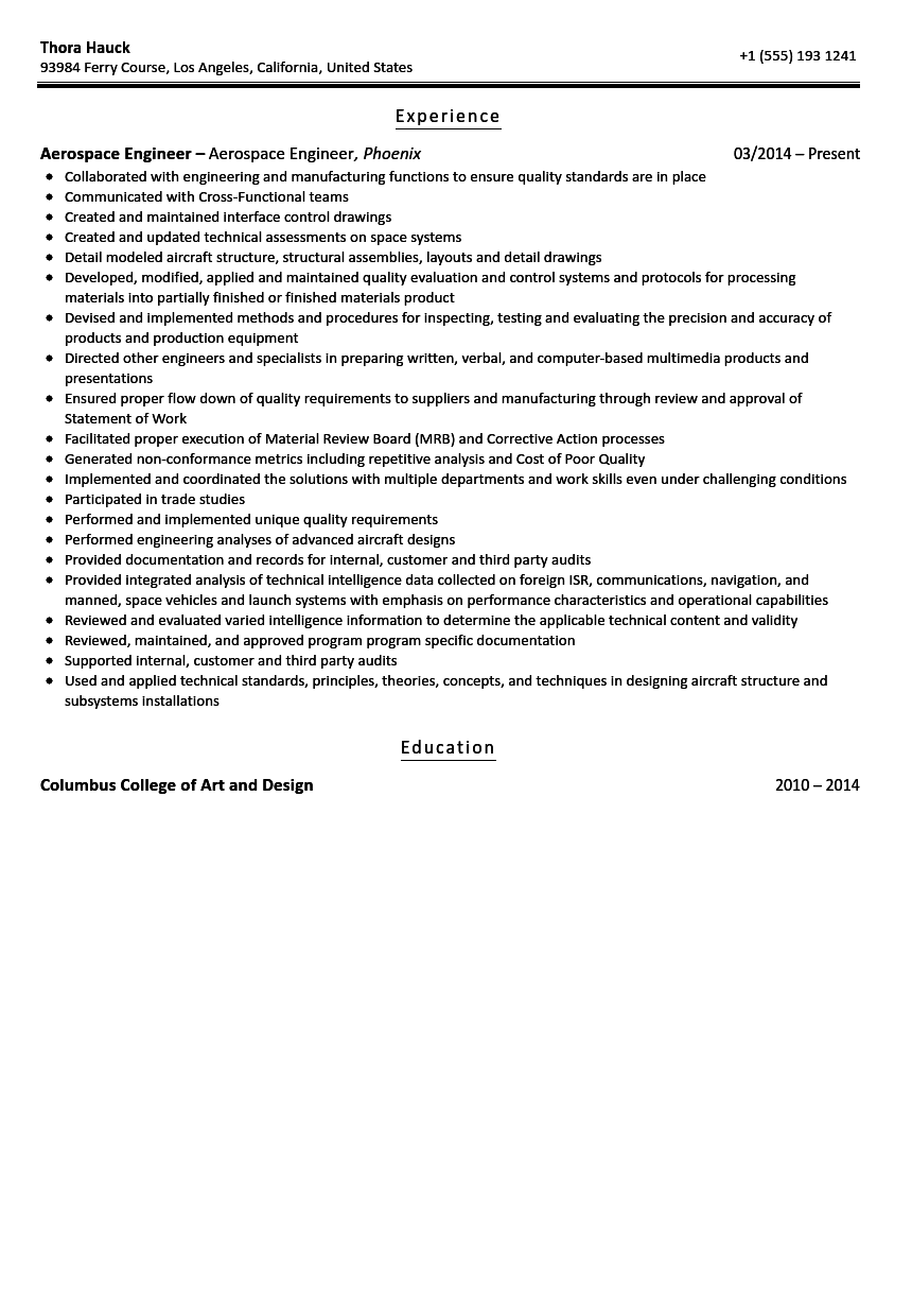 Aerospace Engineer Resume Sample