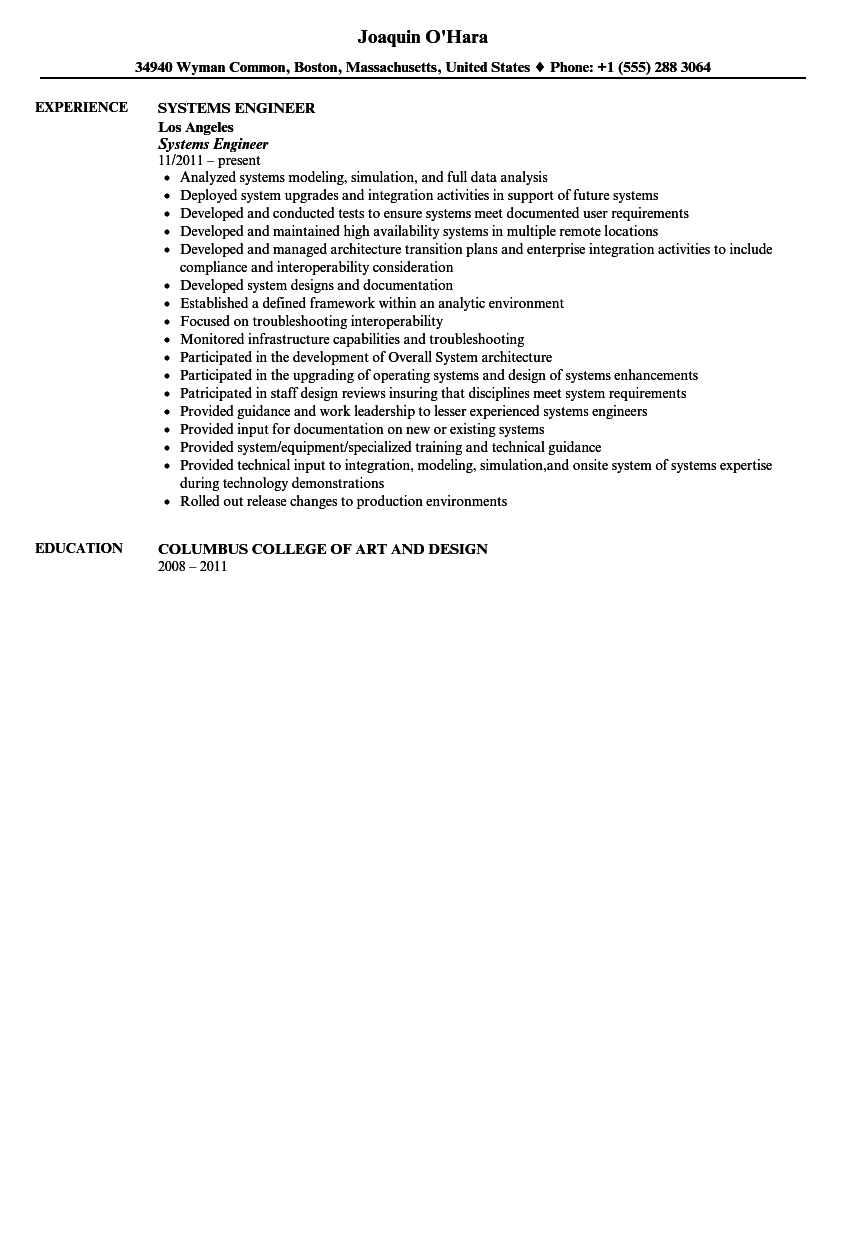 Systems Engineer Resume Sample  Systems Engineer Resume