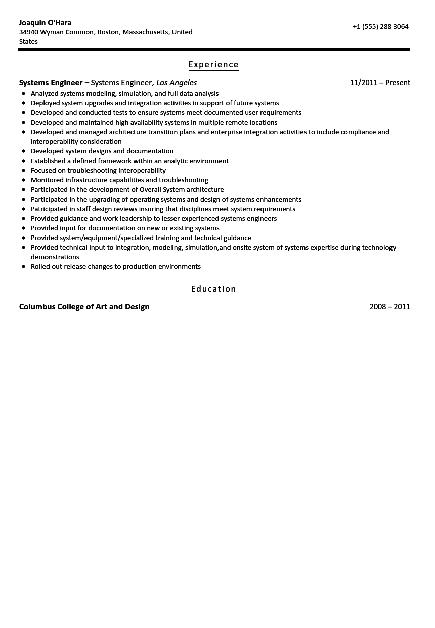 systems engineer resume sample - Resume Format For Engineers