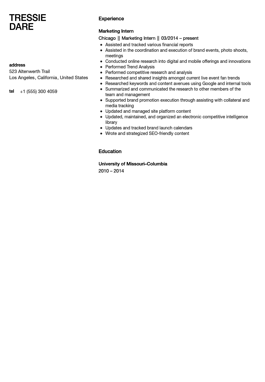 marketing intern resume sample - Resume For Internship Sample