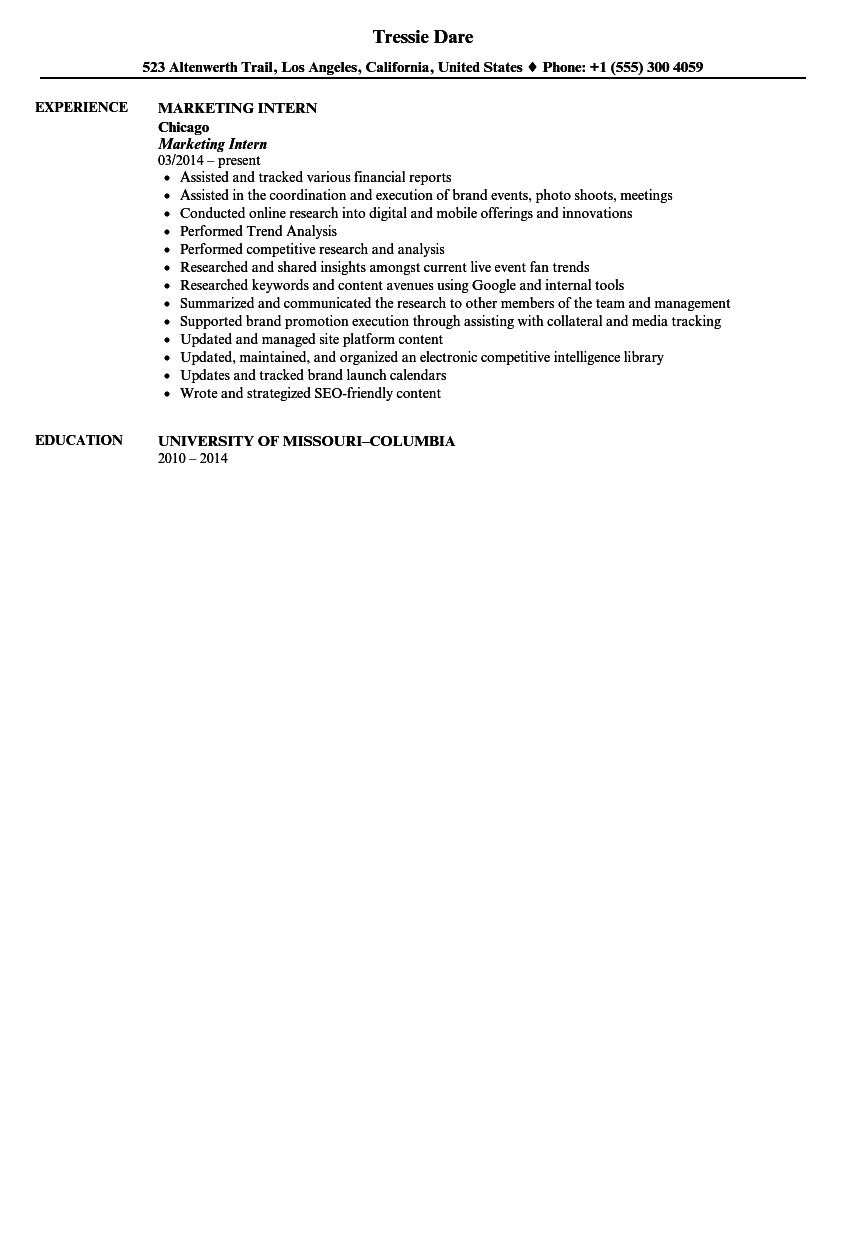 Marketing Intern Resume Sample  Marketing Intern Resume
