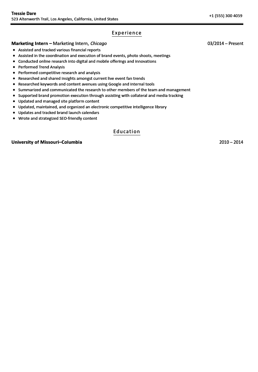 marketing intern resume sample | velvet jobs - Resume For Internship Example