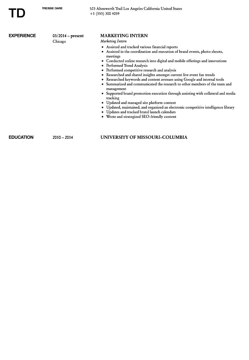 Marketing Intern Resume Sample