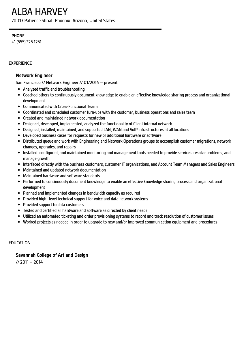 Network Engineer Resume Sample  Resume Network Engineer