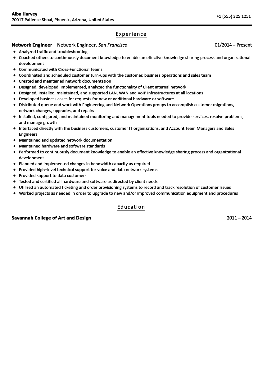 Network Engineer Resume Sample Velvet Jobs