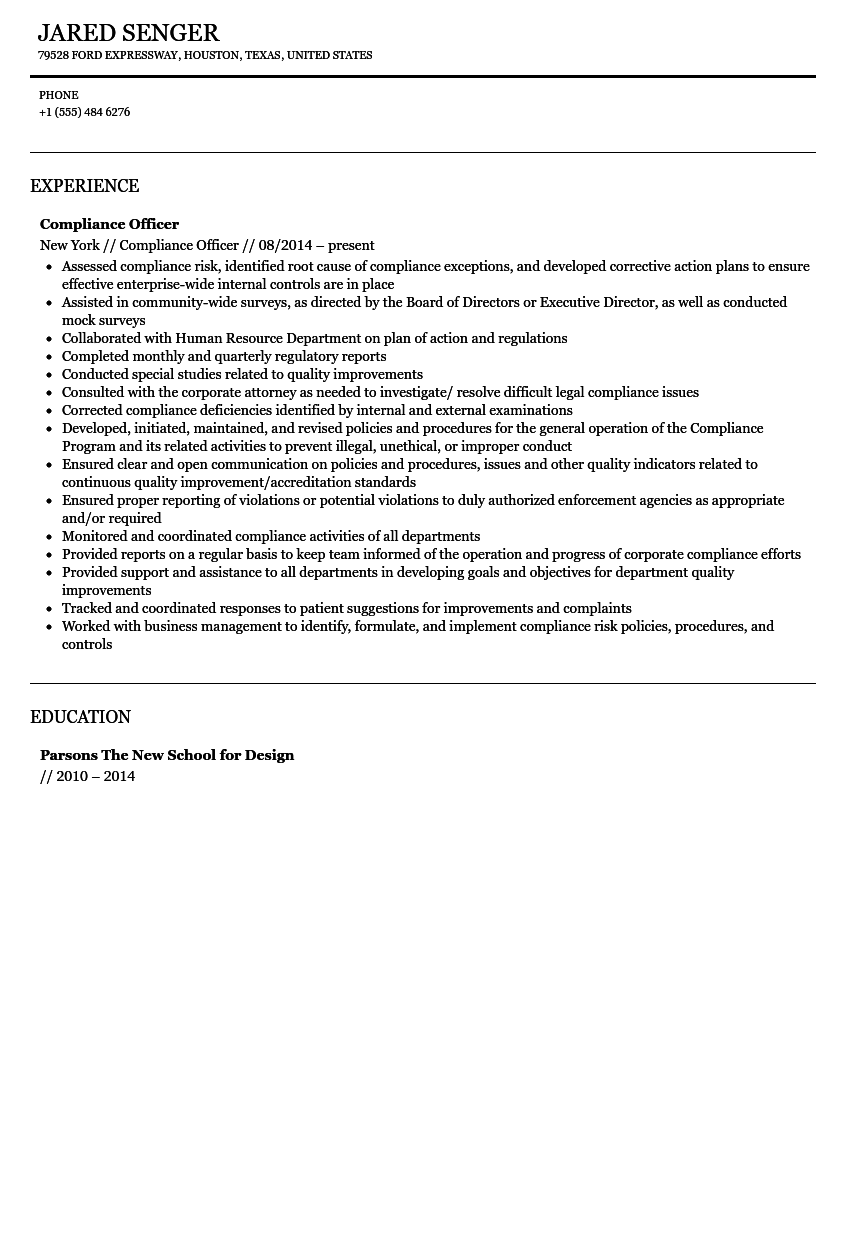 Compliance Officer Resume Sample  Compliance Officer Resume