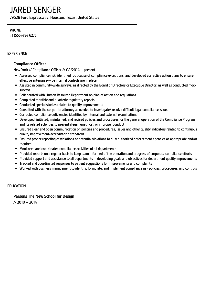 Compliance Officer Resume Sample