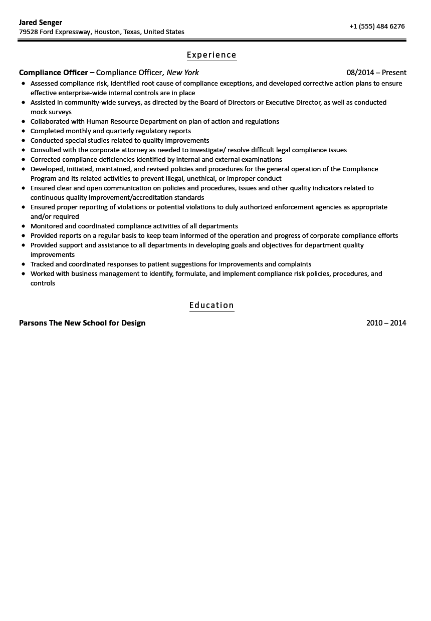 Beautiful Compliance Officer Resume Sample For Compliance Officer Resume
