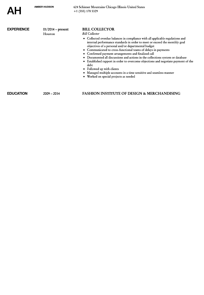 bill collector resume sample