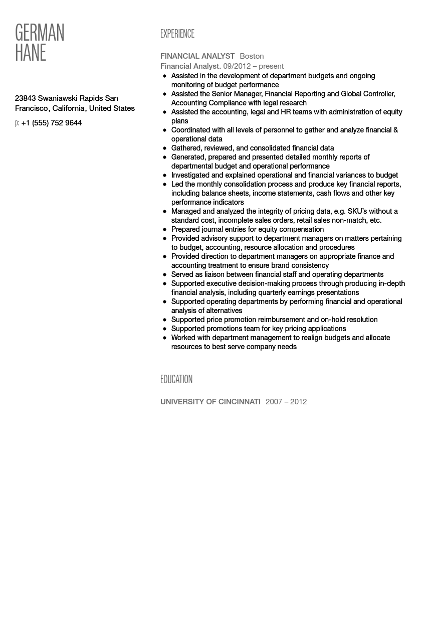 Financial Analyst Resume Sample  Finance Analyst Resume