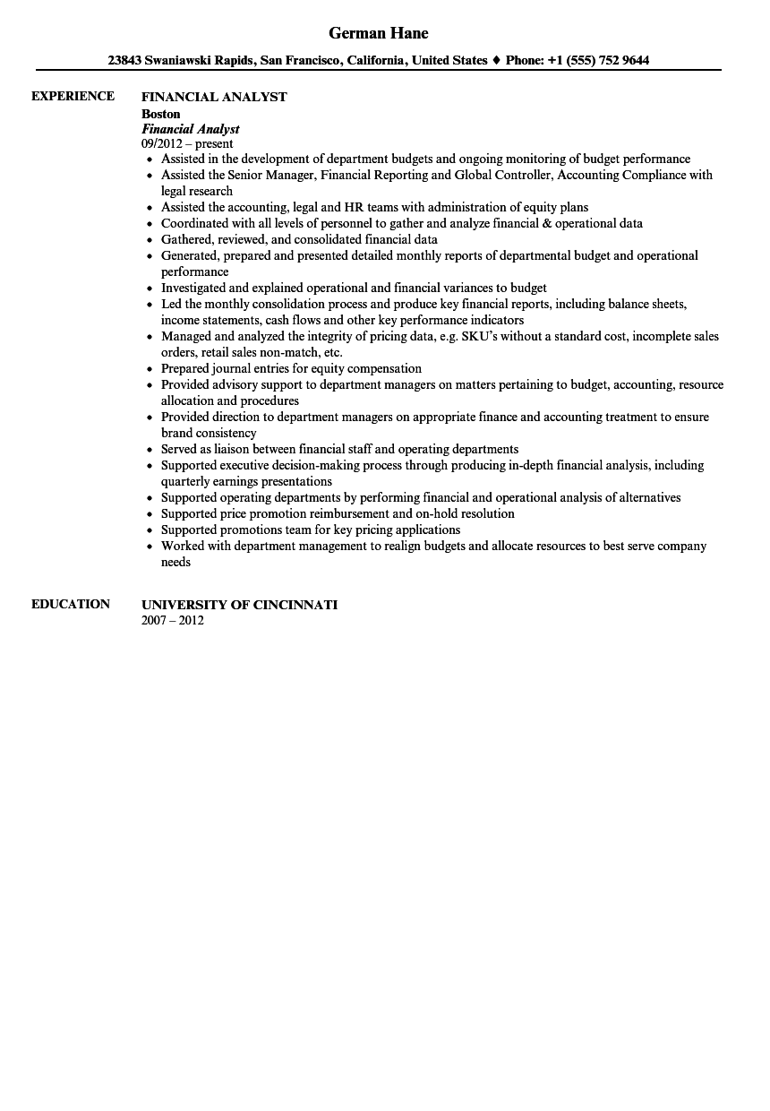 financial analyst resume sample - Financial Analyst Resume Sample