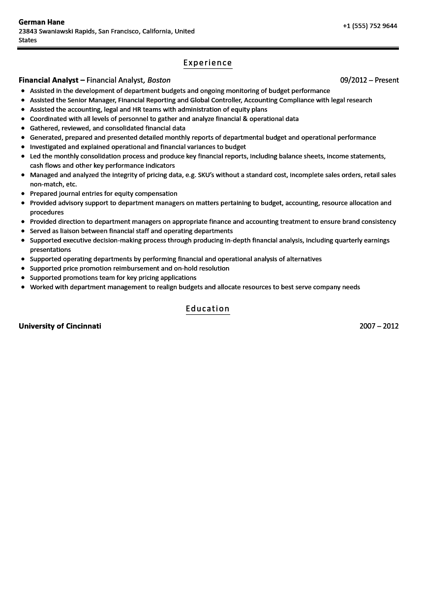 Financial Analyst Resume Sample  Sample Financial Analyst Resume