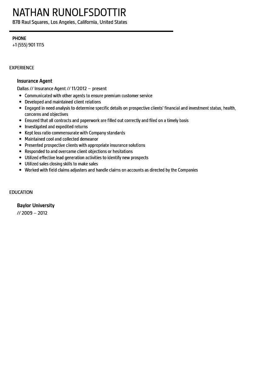 Insurance Agent Resume Sample Velvet Jobs