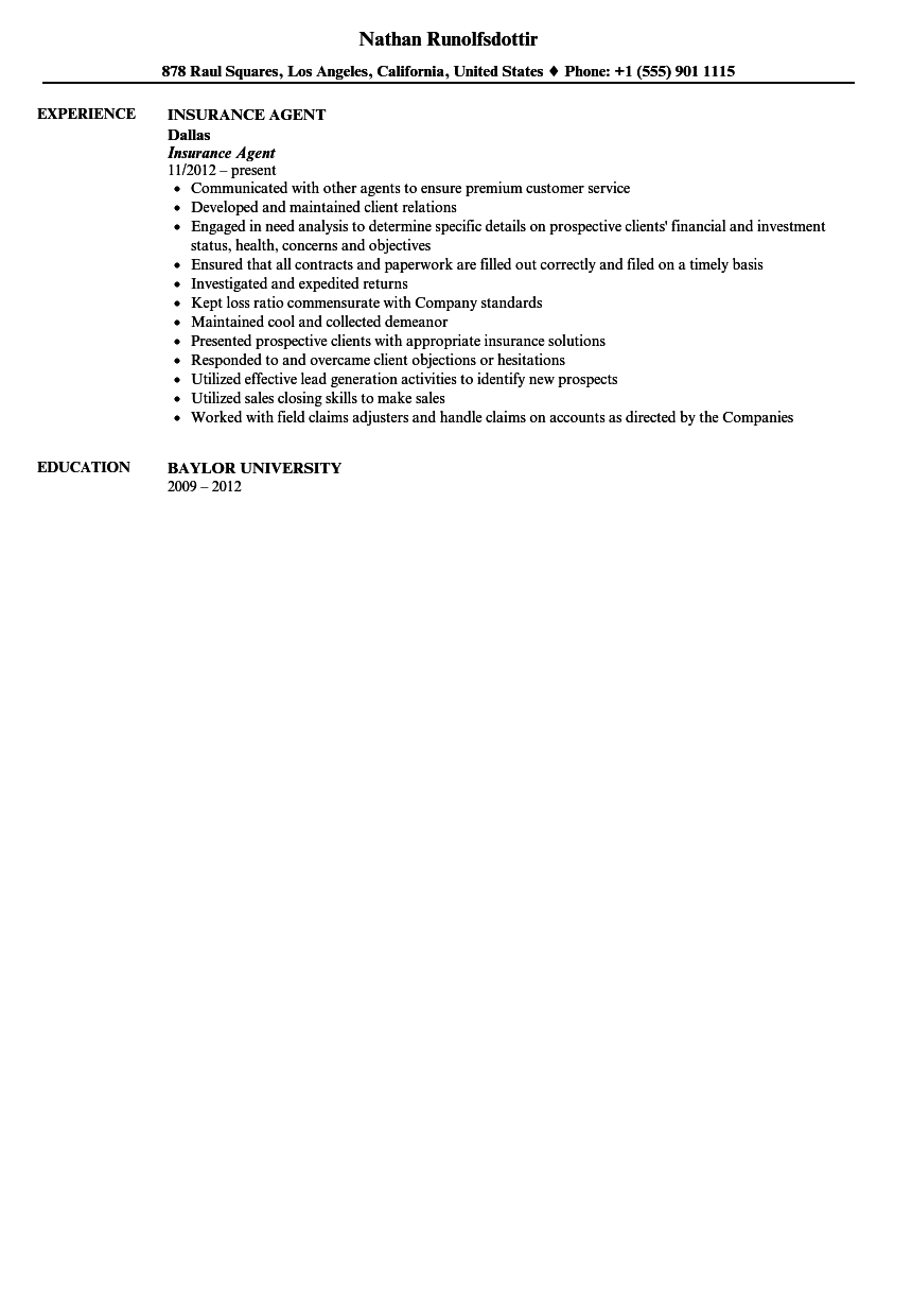 Insurance Agent Resume Sample  Resume For Insurance Agent