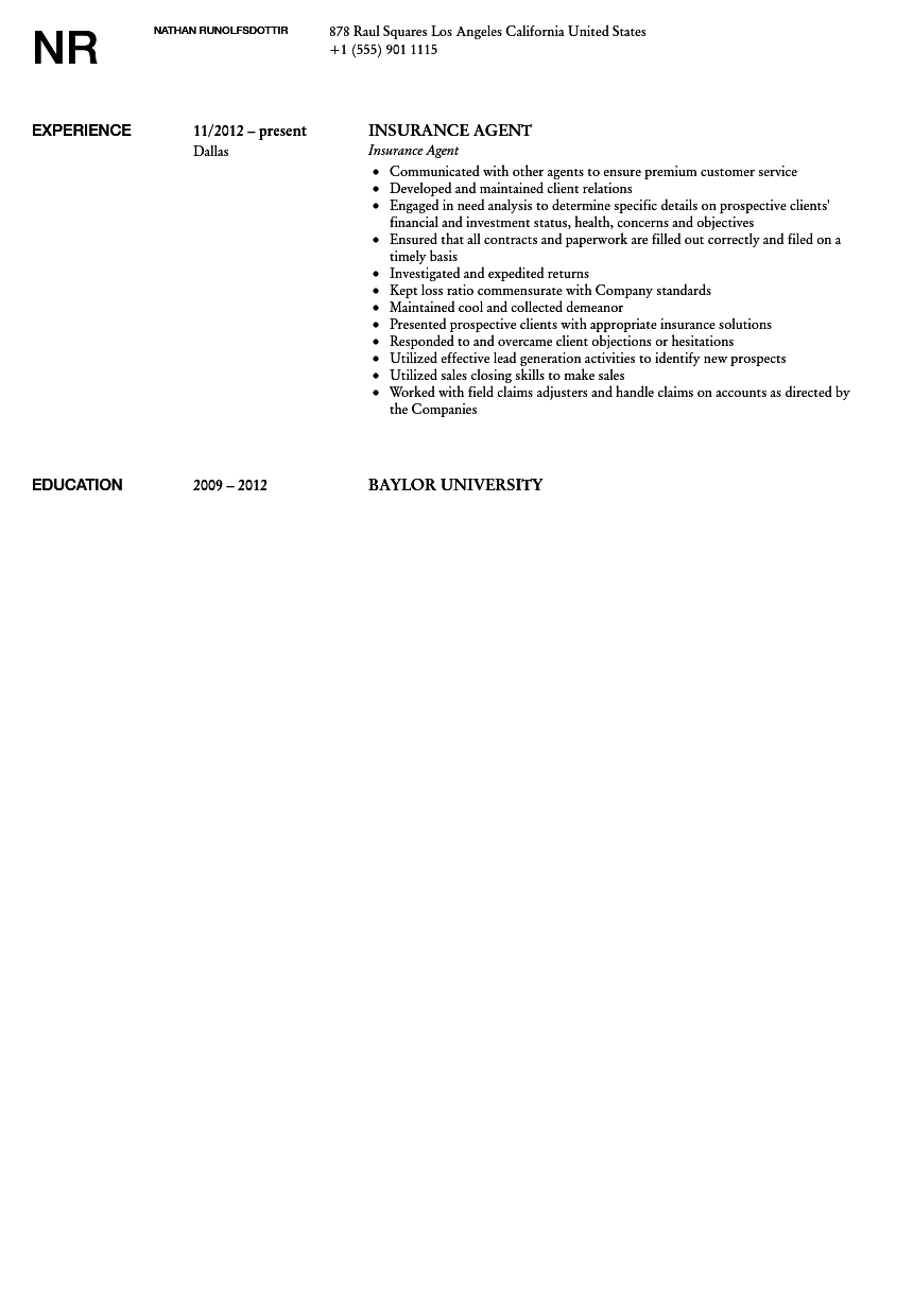 Insurance Agent Resume Sample  Insurance Agent Resume