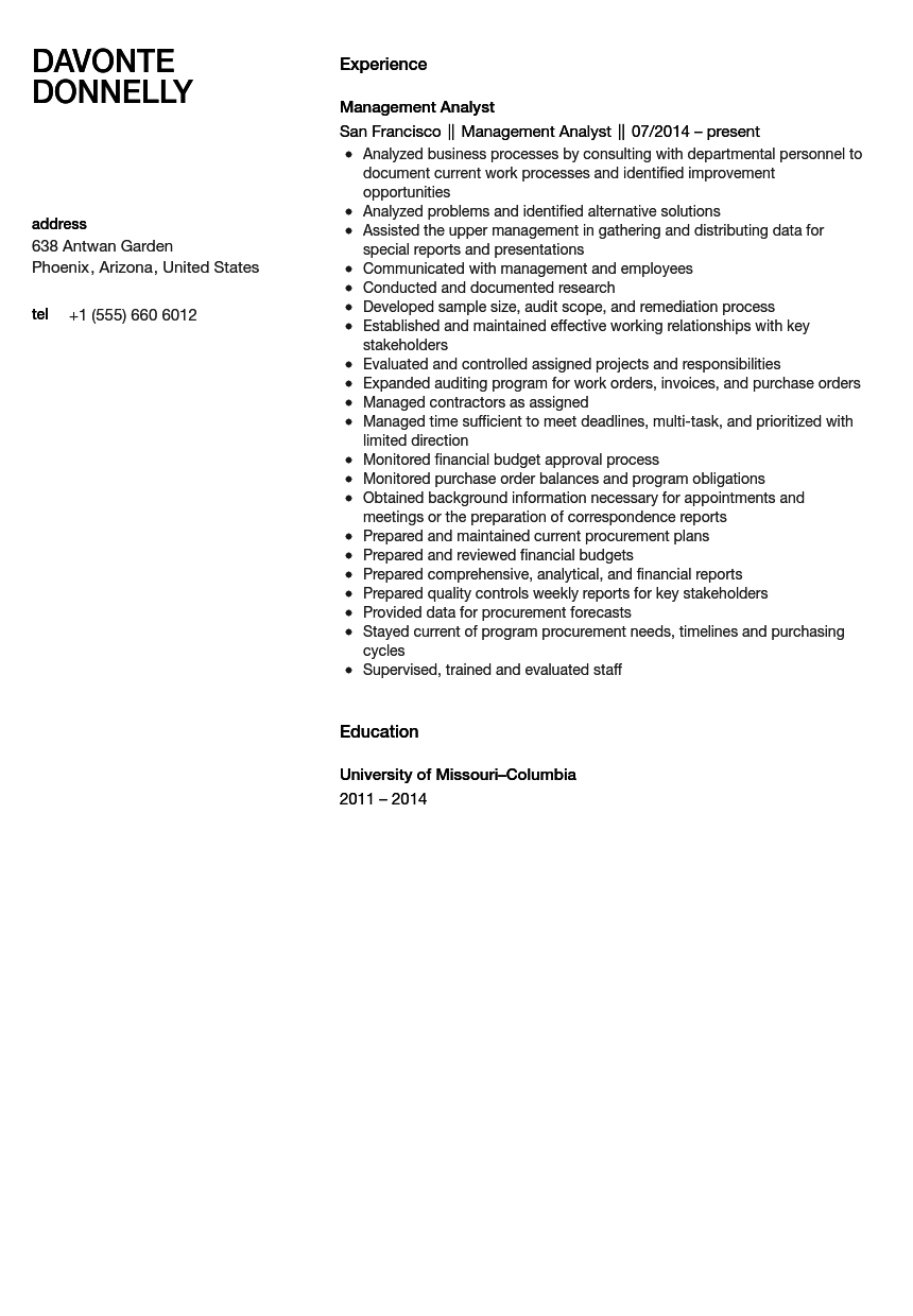 management analyst resume sample inventory control analyst resume