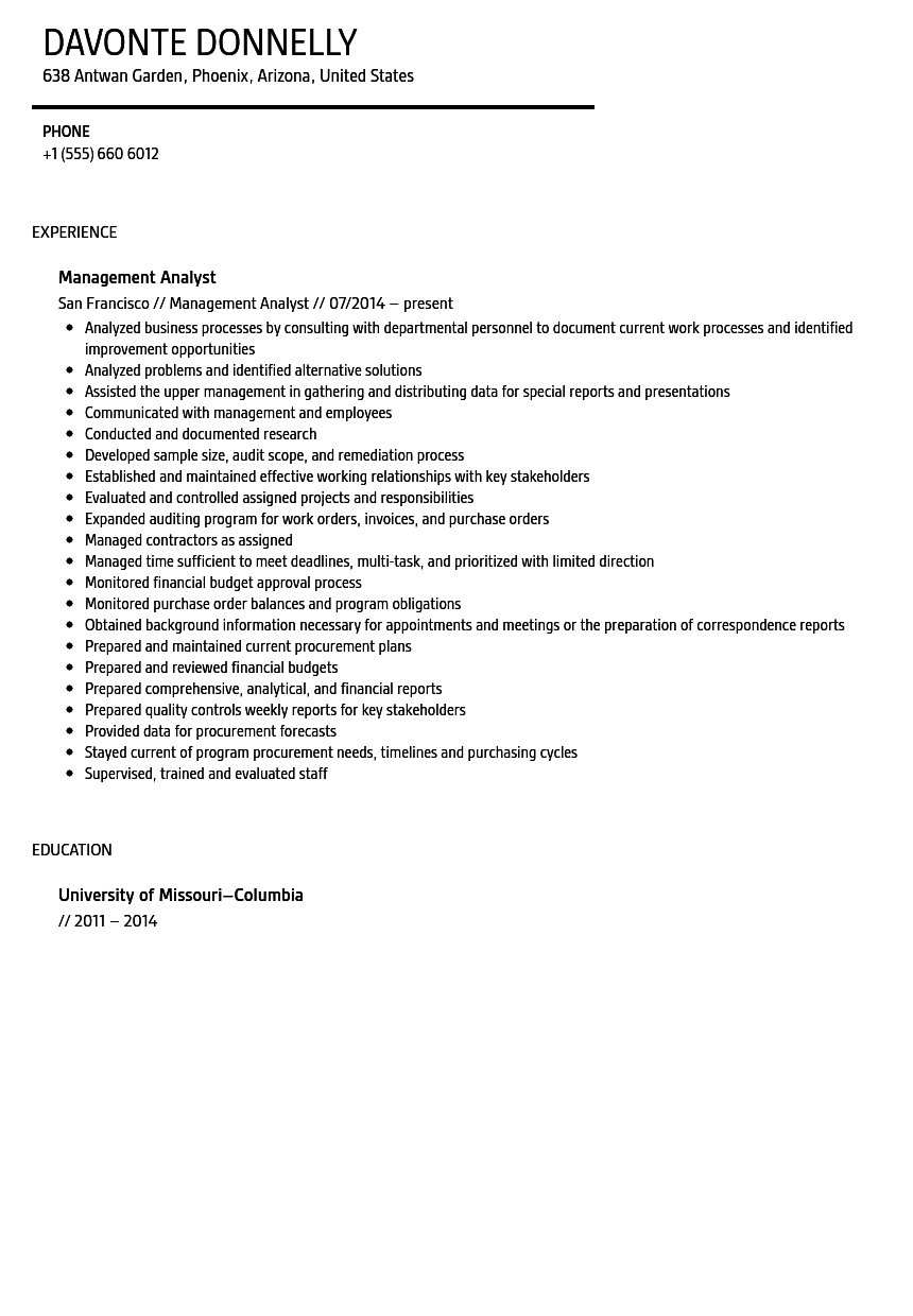 Management Analyst Resume Sample