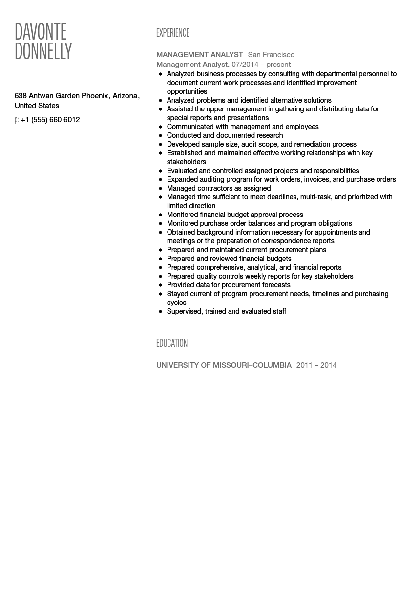 Management Analyst Resume Sample  Management And Program Analyst Resume
