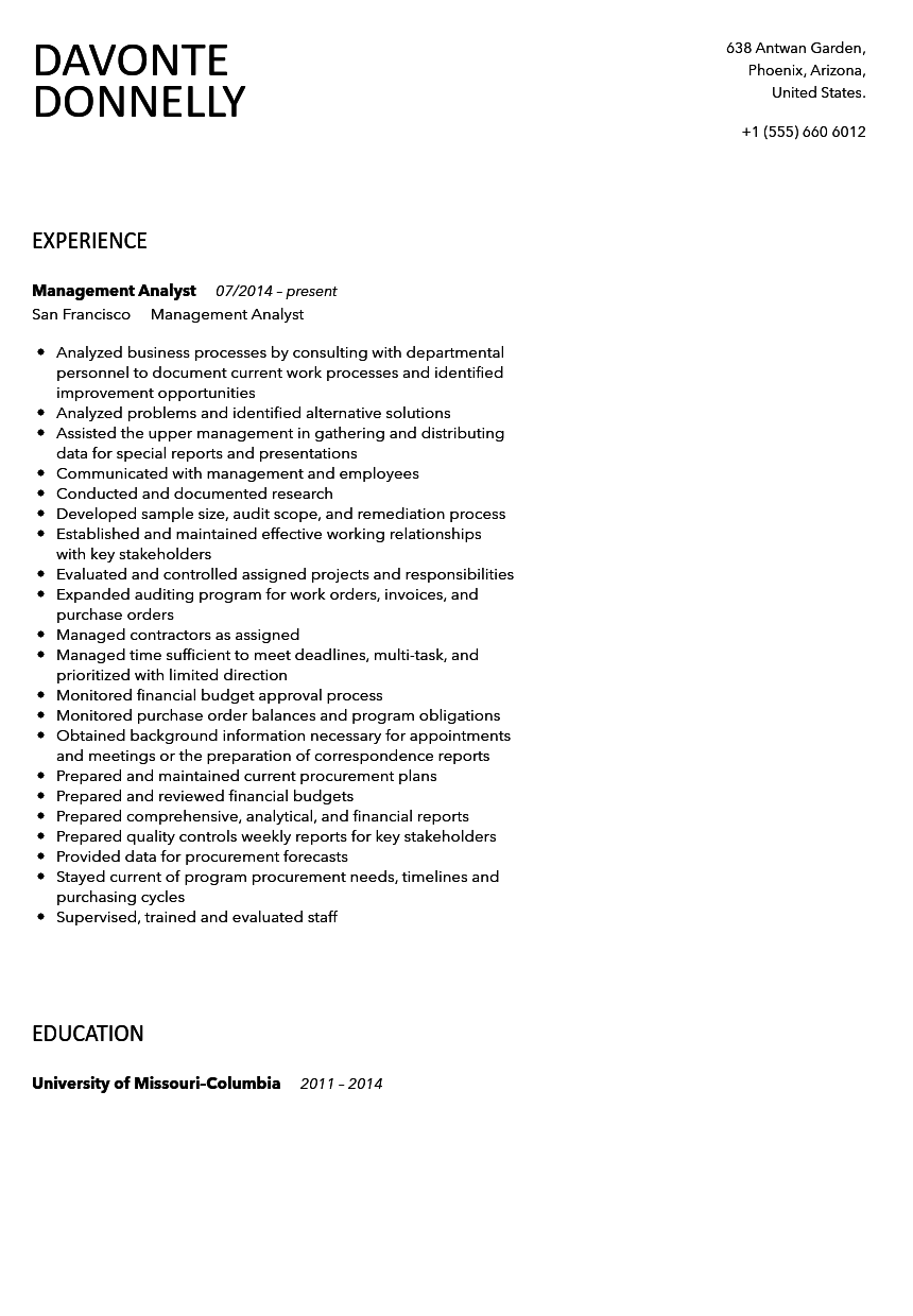 Nice Management Analyst Resume Sample Within Management Analyst Resume