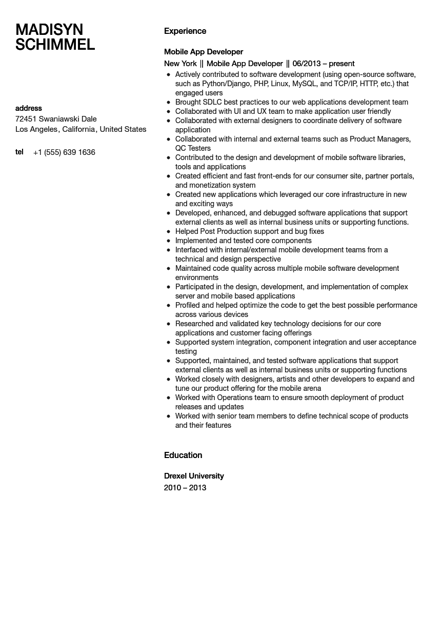 Mobile Application Developer Resume Sample