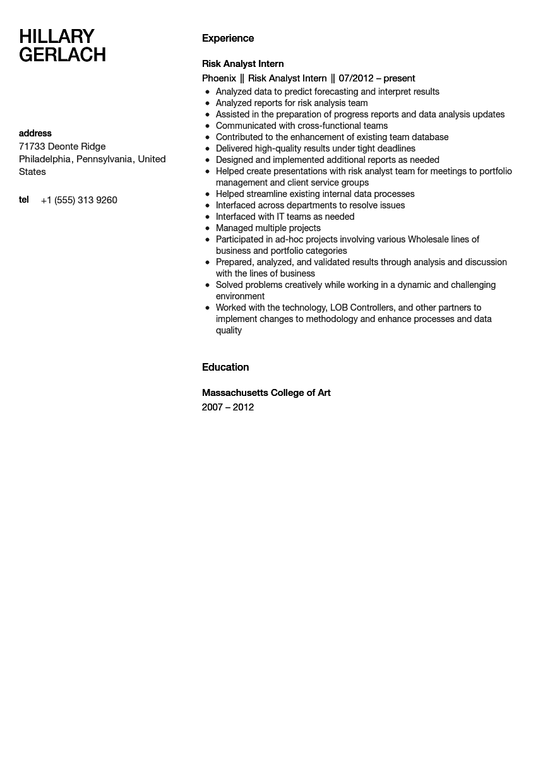 risk analyst intern resume sample