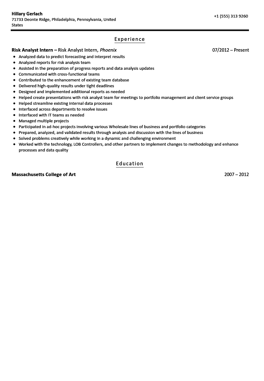 risk analyst intern resume sample