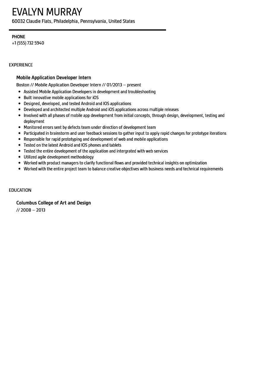Mobile Application Developer Intern Resume Sample