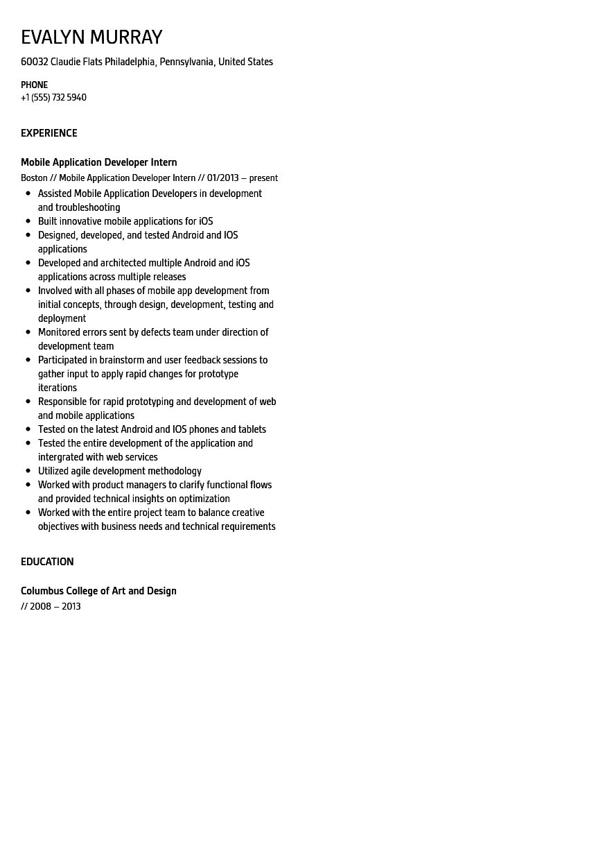 mobile application developer intern resume sample velvet