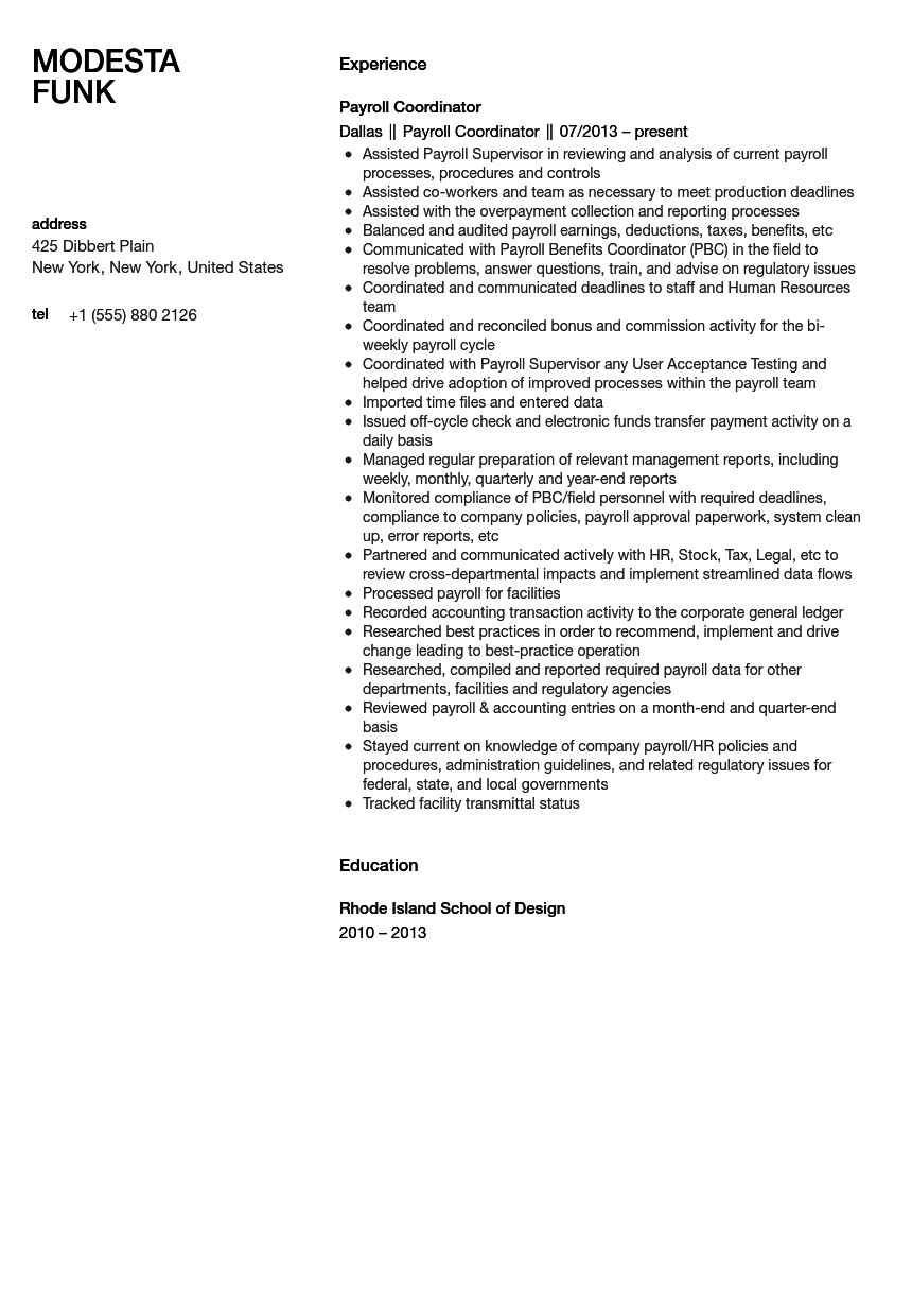 payroll coordinator resume sample velvet jobs