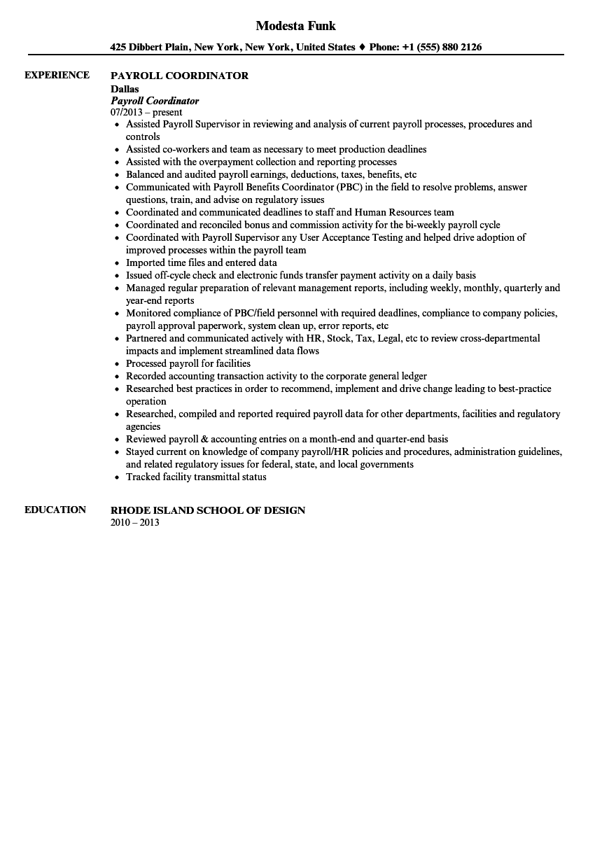 payroll coordinator resume sample - Staffing Coordinator Resume