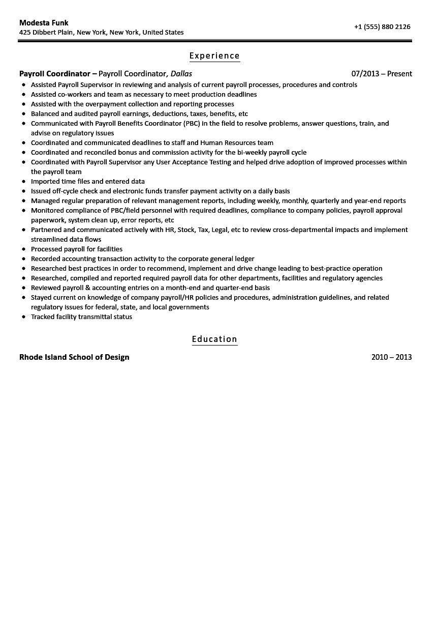 Payroll Coordinator Resume Sample