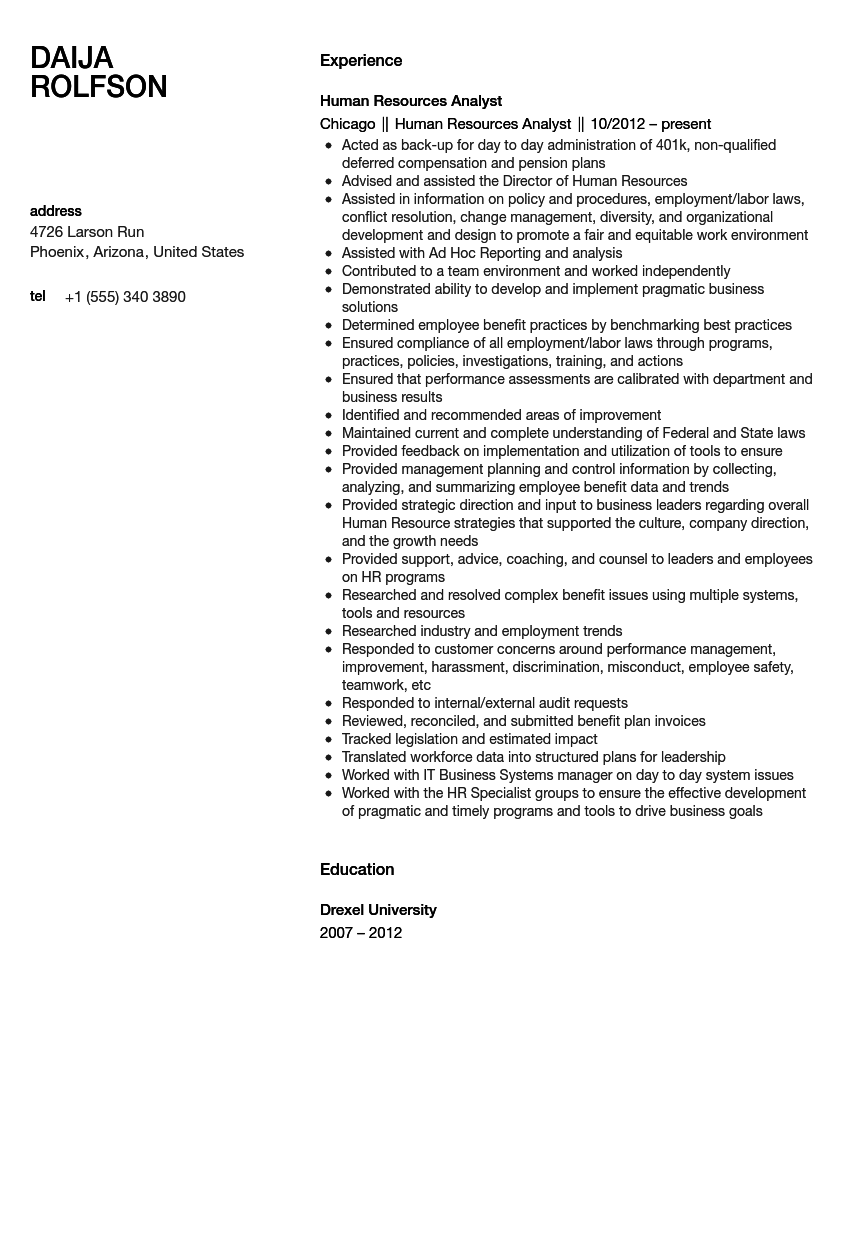 human resources analyst resume sample - Public Relations Analyst Resume