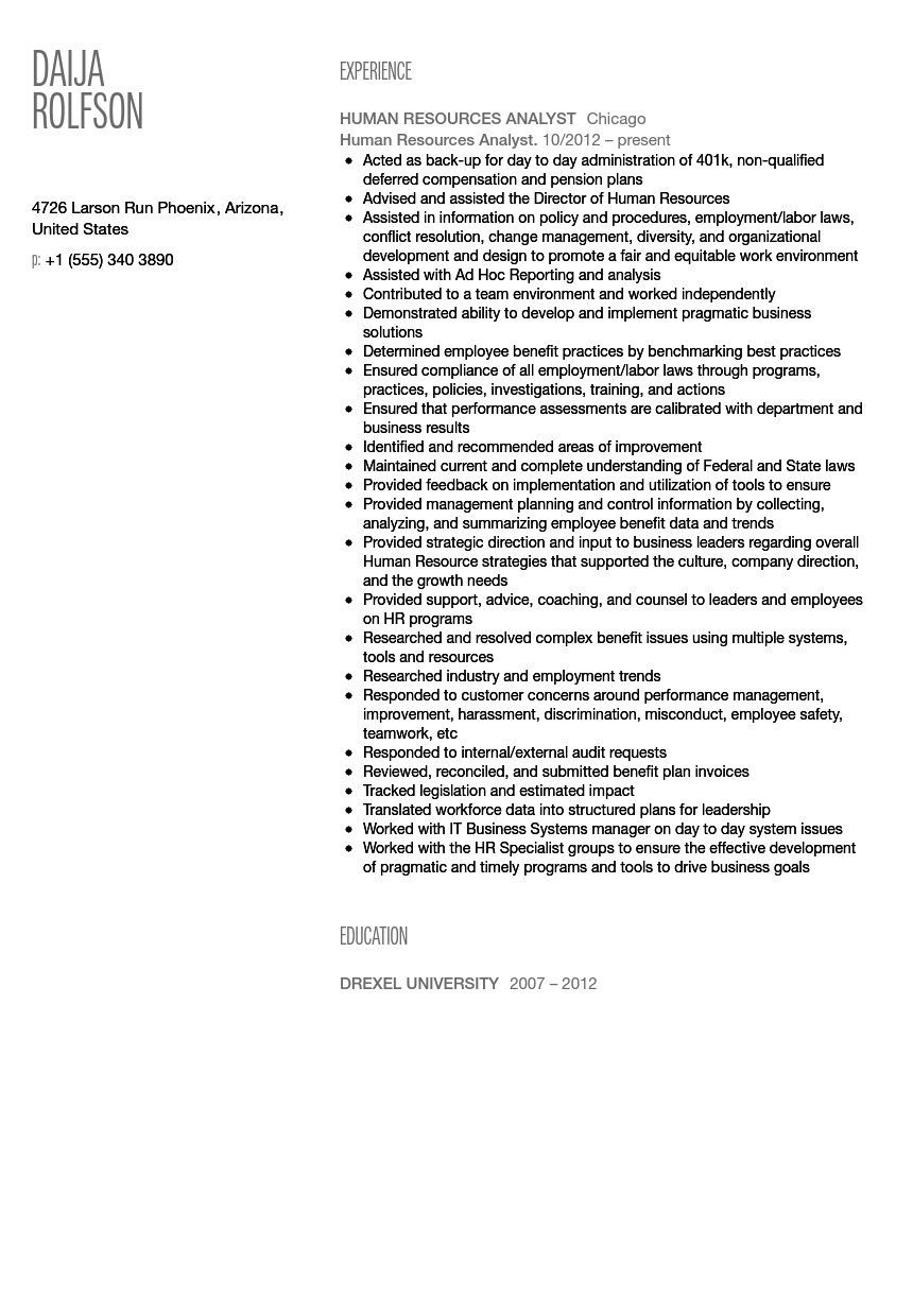 human resources analyst resume sample - Hris Analyst Resume