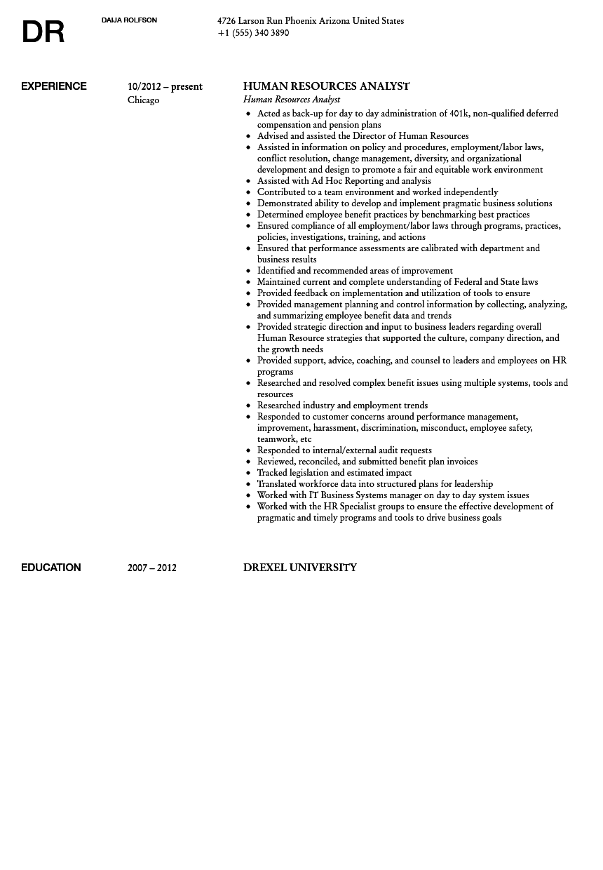 Human Resources Analyst Resume Sample  Human Resource Resumes