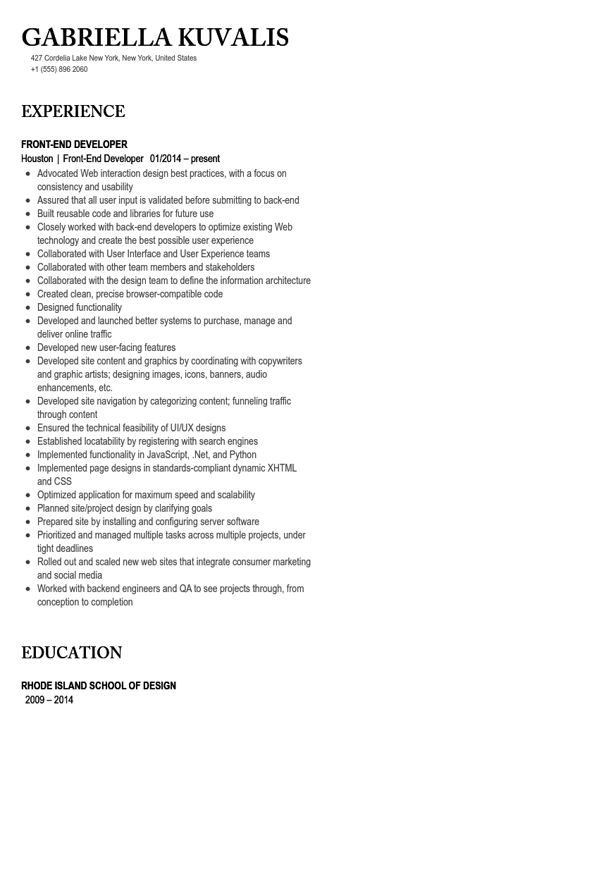front end developer resume sample