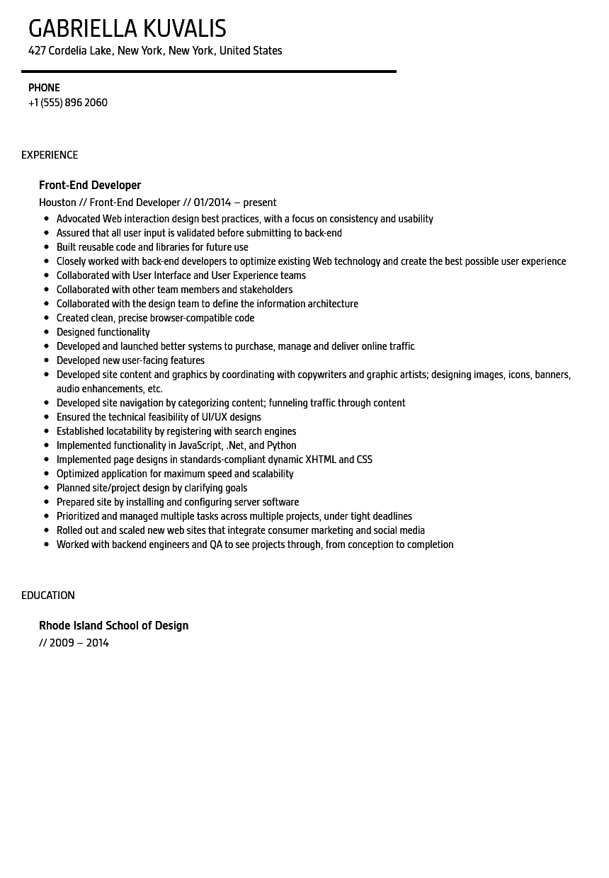 front end developer resume sle velvet