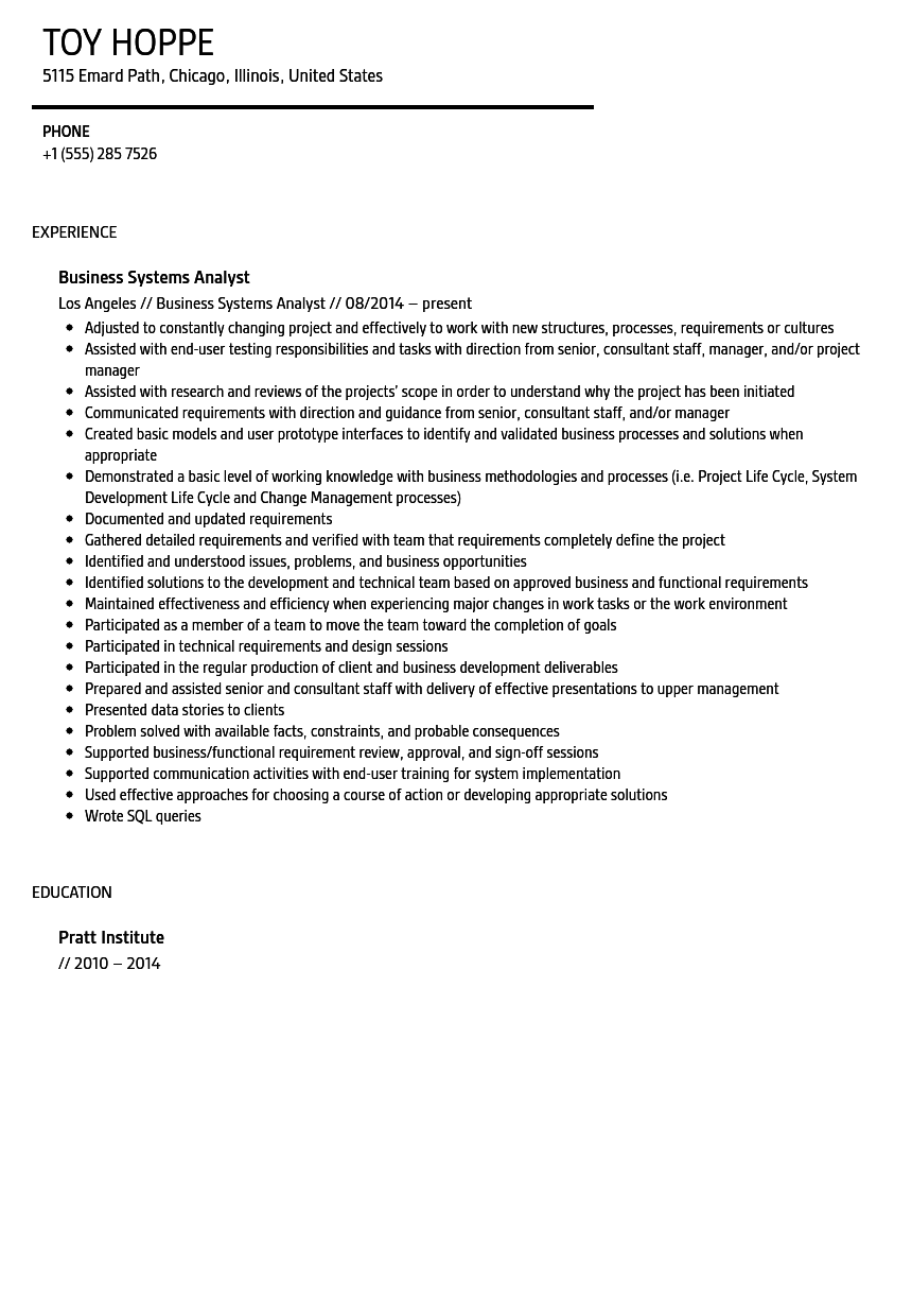 business systems analyst resume sample - Systems Analyst Resume Samples