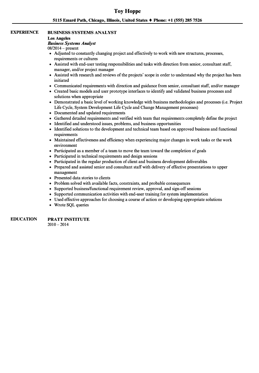 Business Systems Analyst Resume Sample  Sample Business Resumes