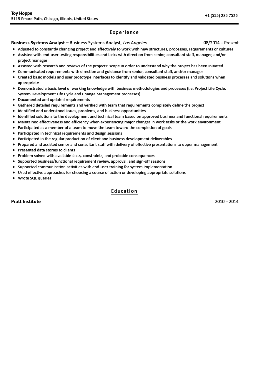 business systems analyst resume sample velvet jobs