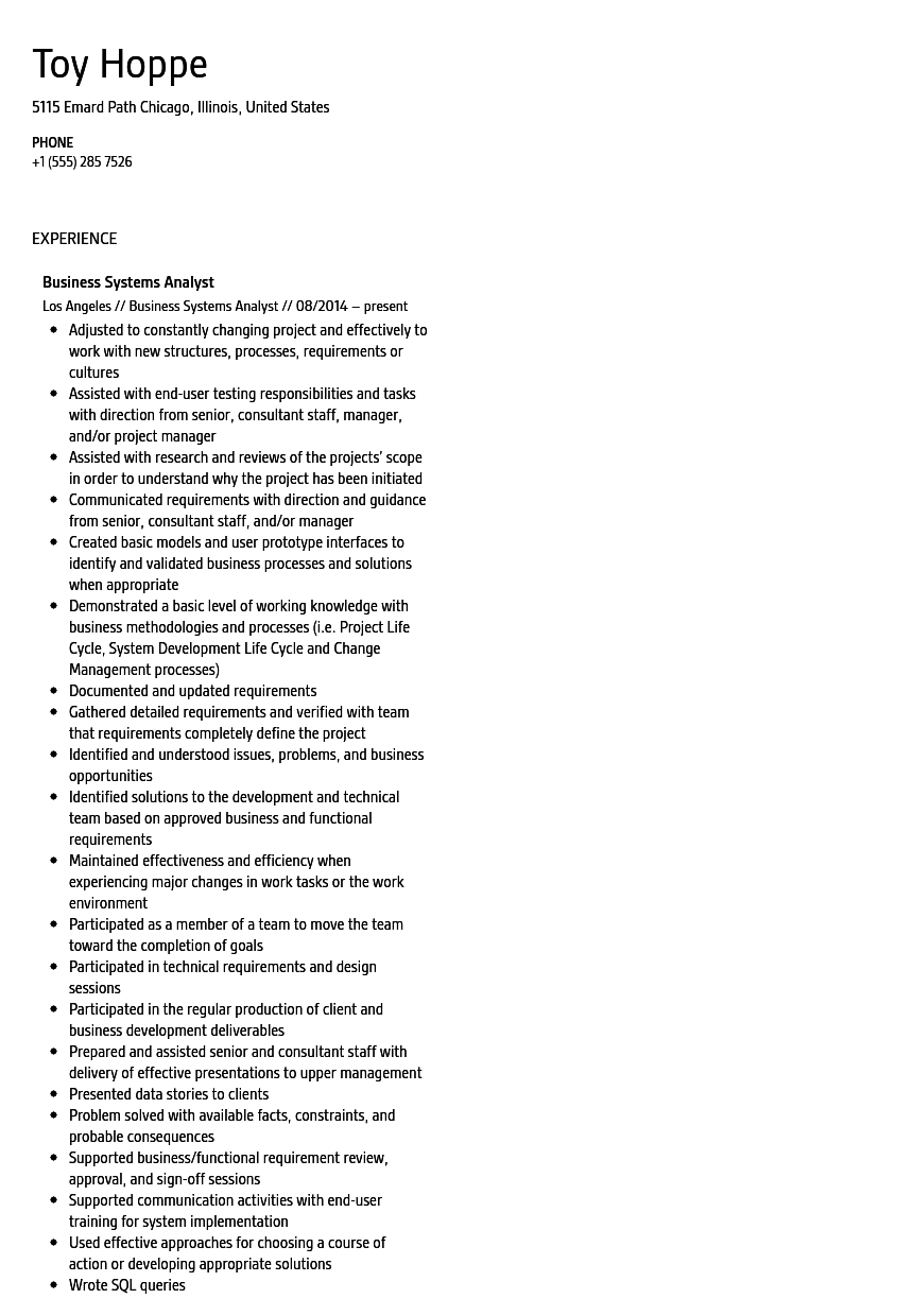 Business Systems Analyst Resume Sample  Business Systems Analyst Resume