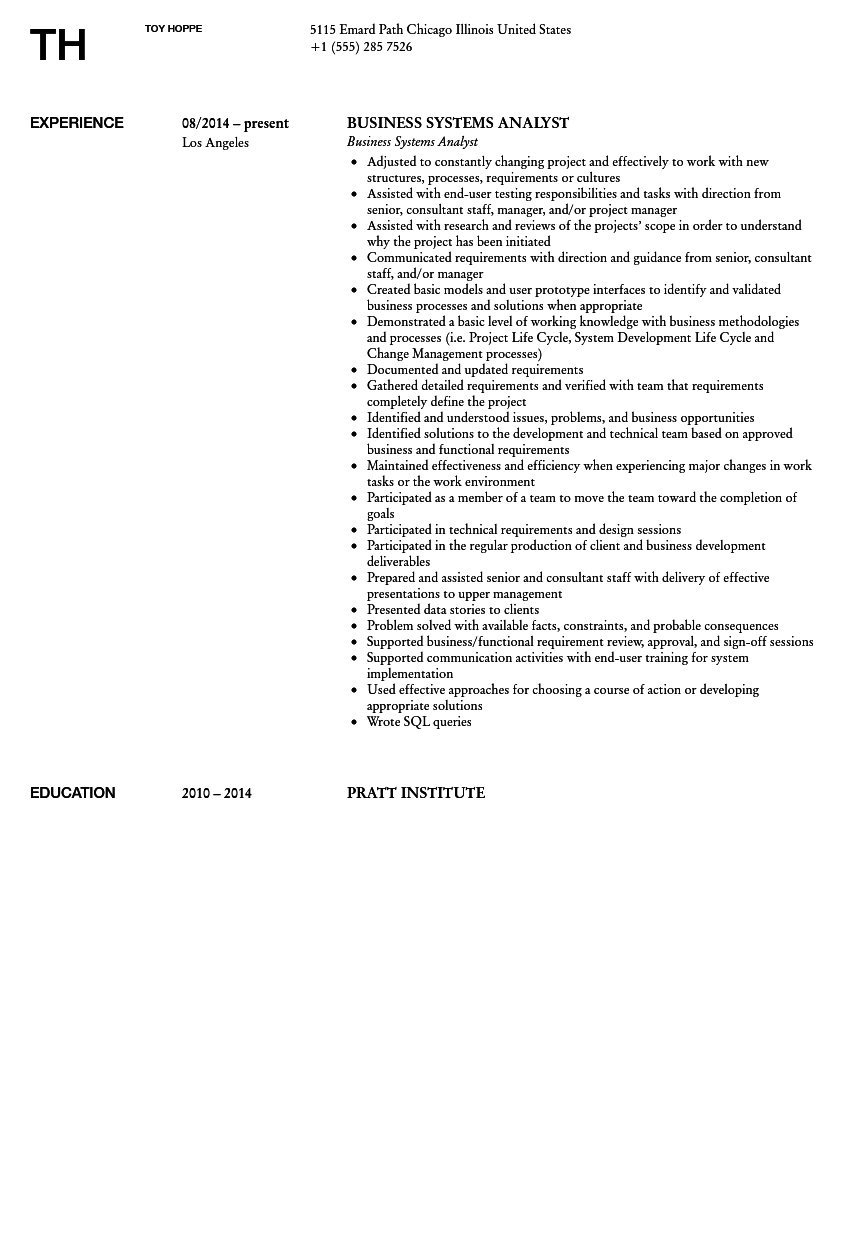 business systems analyst resume sample. Resume Example. Resume CV Cover Letter